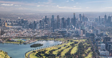 Melbourne Aerial City View With Albert Park And Skyscrapers