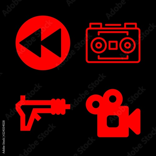 Fotografía  cassette icons set with stereo camera, blaster and rewind vector set