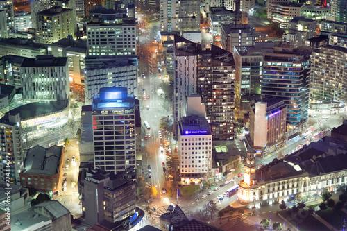 Staande foto Las Vegas Aerial view of city skyscrapers at night, New Zealand