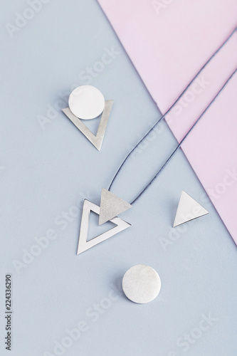 Wallpaper Mural Jewelry kit of silver triangles and circles for geometric necklace