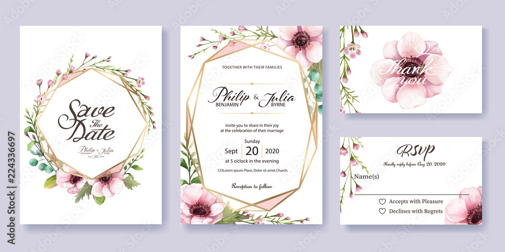 Fototapeta Wedding Invitation, save the date, thank you, rsvp card Design template. Vector. Anemone flower, silver dollar, leaves, Wax flower.