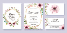 Wedding Invitation, Save The Date, Thank You, Rsvp Card Design Template. Vector. Anemone Flower, Silver Dollar, Leaves, Wax Flower.