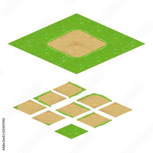 Fotografie, Obraz  Terrain Isometric Texture for Mobile Game Development Assets