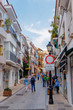Marbella, Spain - May 4, 2018: Old historic center with small streets of the Spanish city. Andalusia. Costa del Sol.