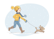 Girl Walking A Puppy / Young W...