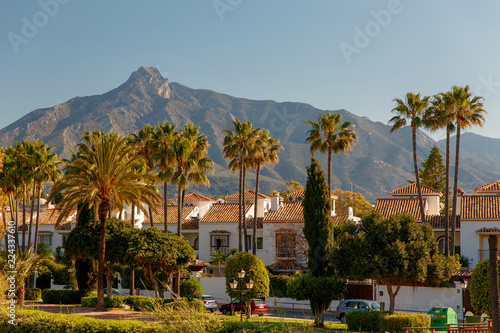 Canvas Print Marbella, Spain - May 4, 2018: Luxury property, beachside apartments  with beautiful blue skies, palm trees with gardens and sea and beach views