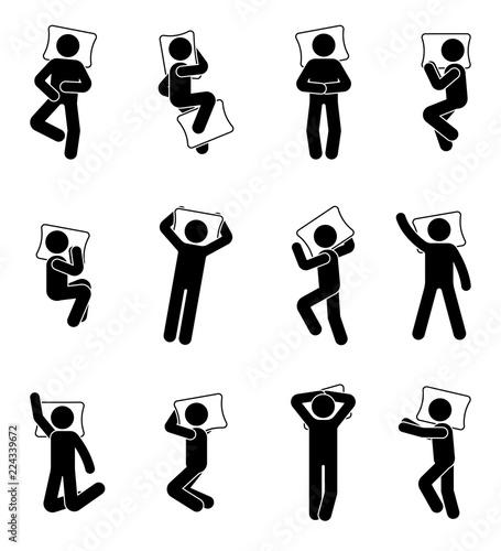 Photo  Stick figure man sleeping icon set