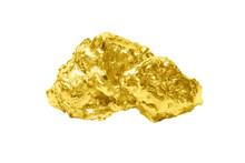 Golden Bullion Close Up Isolated On White Background.