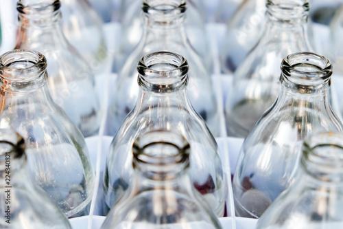 Empty bottles glass in Row.