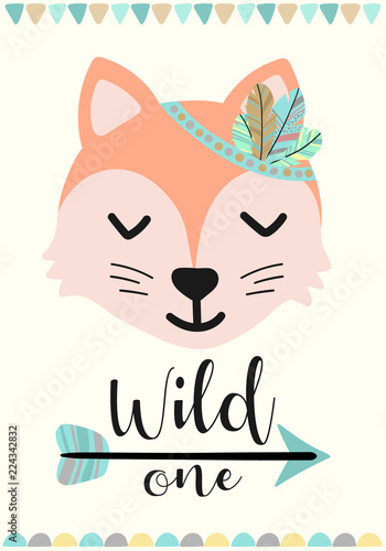 Foto-Lamellenvorhang - Vector image of a fox in the style of Boho. A cartoon hand-drawn illustration of animals with the inscription Wild one for use as a print for children, on Baby Shower, banner, postcard, poster. (von Anton)