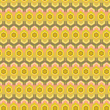 Colorful Golden Yellow And Pink Hexagons In Creative Geometric Repeating Pattern For Backgrounds, Textiles, Fabrics, Backdrops And Elegant Surface Designs. Two Pattern Layers With Transparency Effect