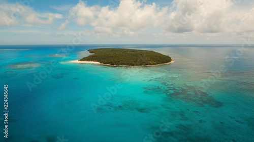 Staande foto Strand Aerial view of beautiful tropical island Daco with white sand beach. View of a nice tropical beach from the air. Beautiful sky, sea, resort. Seascape: Ocean and beautiful beach paradise. Philippines
