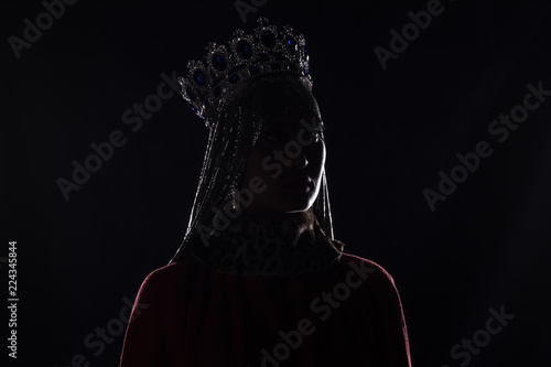 queen with crown, studio portrait on a black background Canvas Print