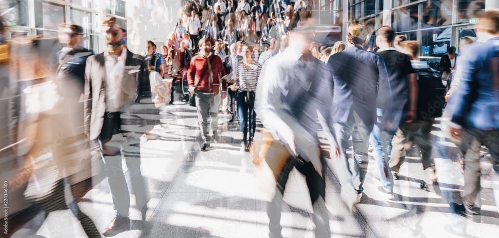 Fototapety, obrazy: Crowd of people walking on a street in london