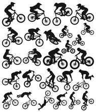 Downhill Cross Country Freeride Trial Slopestyle Dirt Jump Bmx And Mountain Bike  Bicycles Vector Silhouette Collection