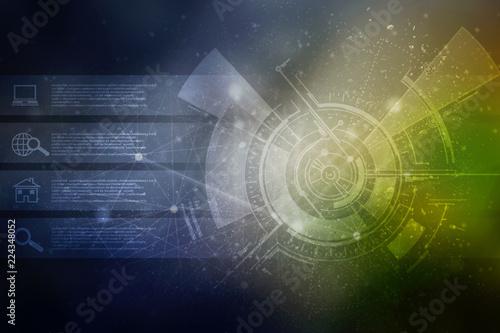 Photo  2d illustration technology background