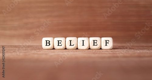 Word BELIEF made with wood building blocks Canvas Print