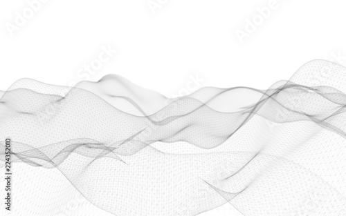 Fototapeta Abstract landscape on a white background. Cyberspace grid. Hi-tech network. 3D illustration obraz na płótnie