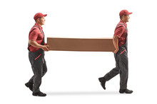 Two Movers Carrying A Big Cardboard Box
