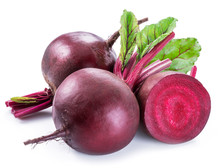 Red Beets Or Beetroots On Whit...