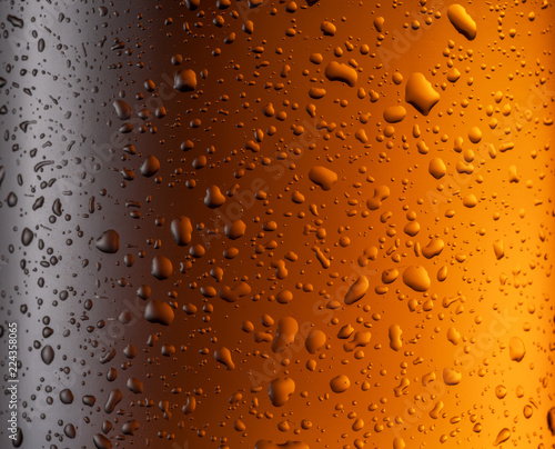 Staande foto Bier / Cider Misted glass of beer bottle. Close up shot.
