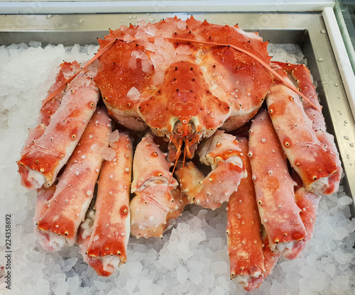 Cooked red king crab on ice. Close-up.