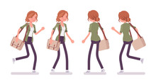 Young Red-haired Woman Walking And Running