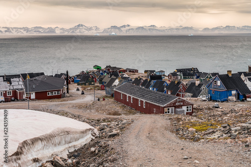 fototapeta na lodówkę settlement of Ittoqqortoormiit with colorful houses, eastern Greenland at the entrance to the Scoresby Sound fjords