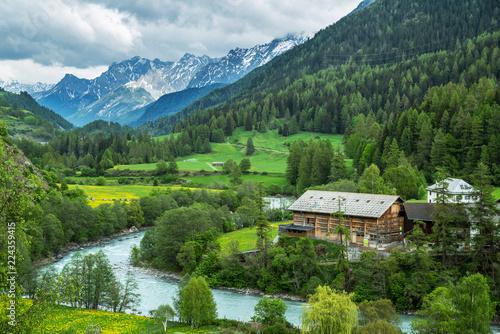 Foto op Aluminium Alpen Village Lavin, Switzerland, May 13, 2018.