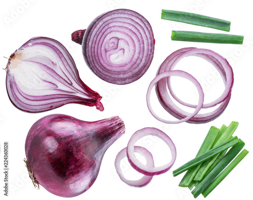 Red onion bulbs, cross sections of onion and spring onion on white background.