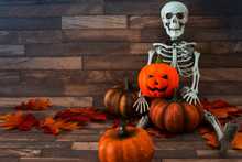 Halloween Concept With A Pumpkin And Skeleton On Background