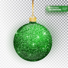 Christmas Bauble Green Glitter Isolated On White. Sparkling Glitter Texture Bal, Holiday Decoration. Stocking Christmas Decorations. Green Hanging Bauble. Vector Illustration