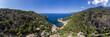 canvas print picture Luftaufnahme, abgelegene Bucht Cala Deia, Deia, Region Valldemossa und Soller,  Serra de Tramuntana, Mallorca, Balearen, Spanien