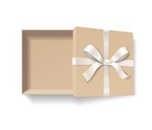 Empty Open Kraft Gift Box With...