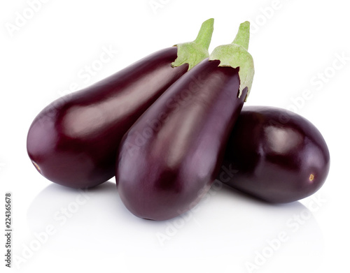 Three fresh eggplants isolated on white background