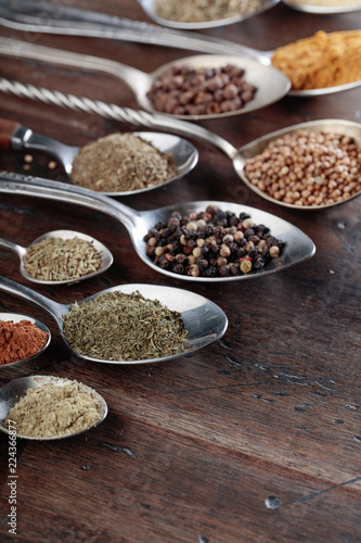 Different spices in spoons on a wooden background.