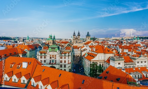 Staande foto Praag View to red roofs skyline of Prague city Czech republic. Prague panoramic view. Photo stock.