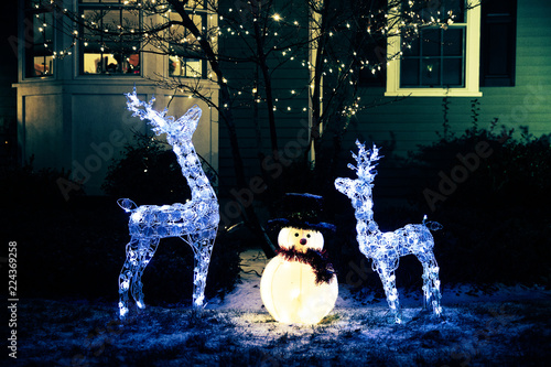 Fotografia  shiny Christmas decorations outside at night