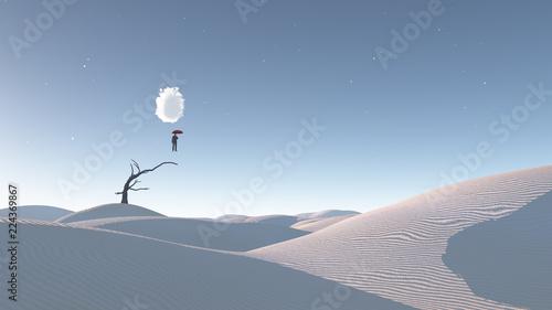 Foto Man in mid air in surreal desert
