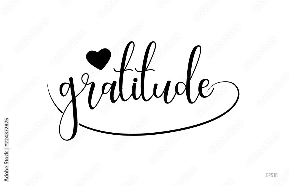 Fototapeta gratitude typography text with love heart