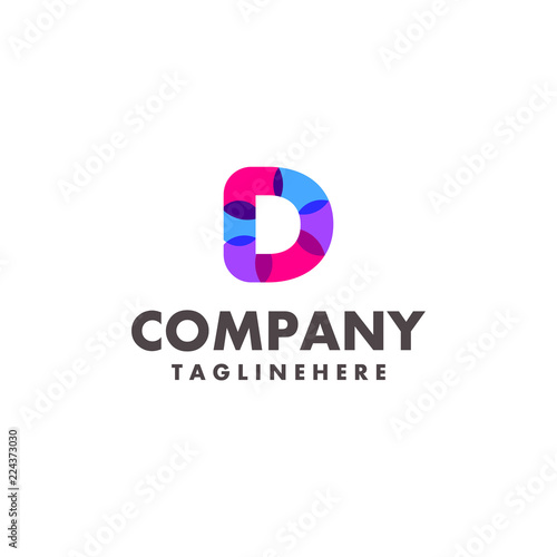 Abstract Colorful Letter D Logo Design For Business Company