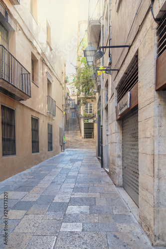 narrow streets of the old Spanish city of Girona