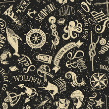 Vintage Nautical And Marine Elements Wallpaper Abstract Vector Seamless Pattern