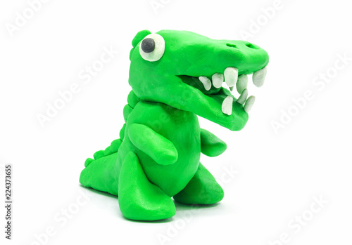 play doh Tyrannosaurus on white background