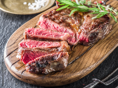 Medium rare Ribeye steak or beef steak.