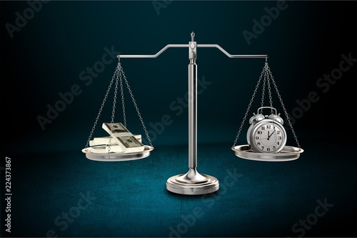 Stickers pour porte Pierre, Sable Justice Scales with money and alarm clock