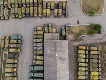 The Warehouse Of Armored Cars By Drone