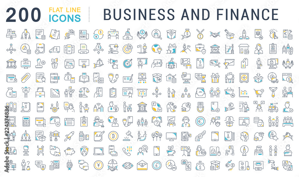 Fototapeta Set Vector Line Icons of Business and Finance.