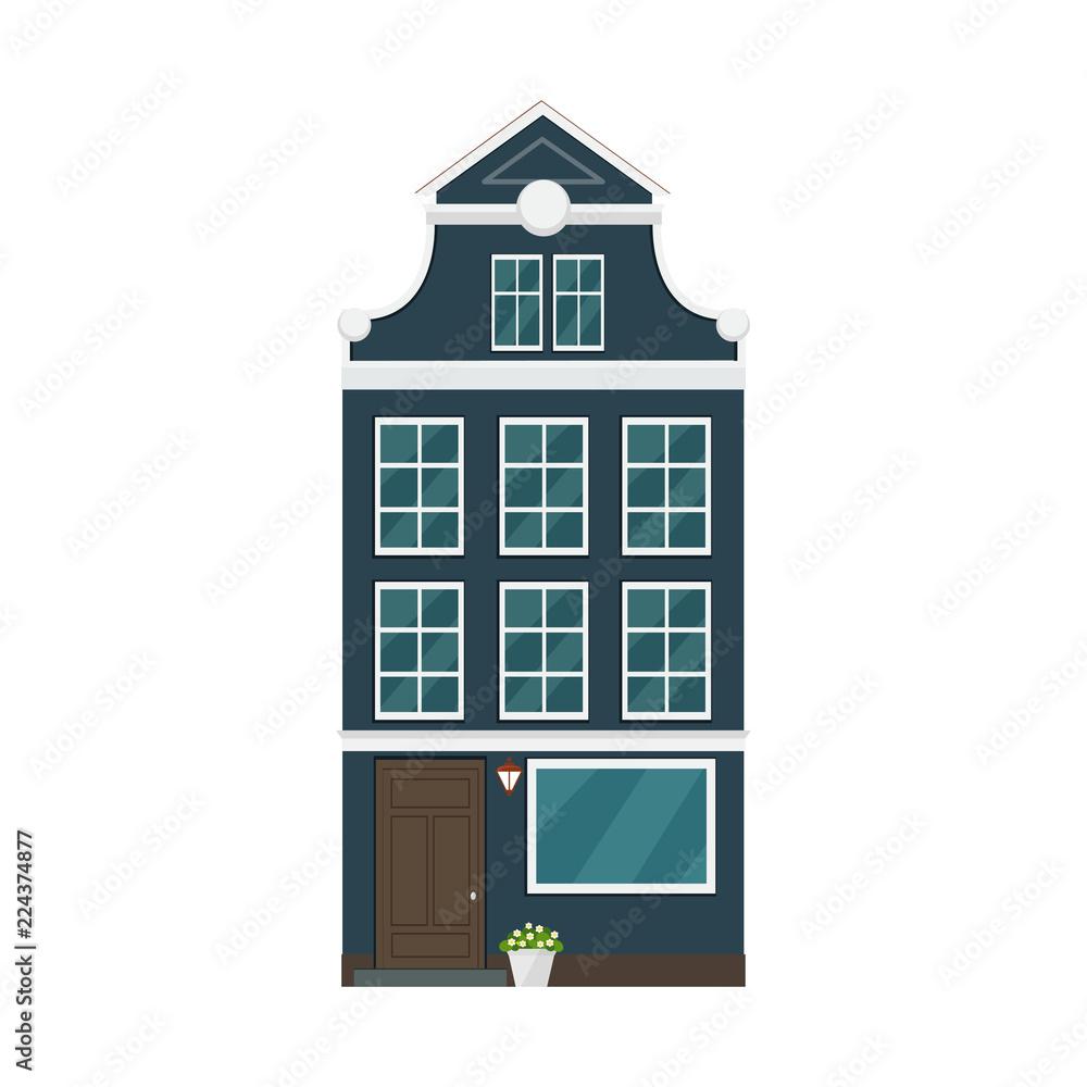 Fototapeta Old european house. Vector flat illustration.
