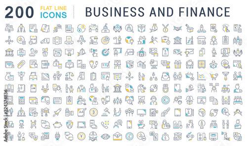Fototapeta Set Vector Line Icons of Business and Finance. obraz